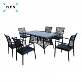 Rattan Aluminum Table with Glass Top